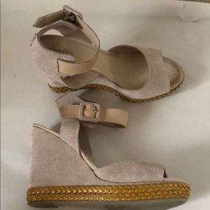 Charles David, all leather & suede platform wedges